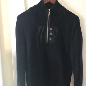Moto style black long sleeve sweater - INC